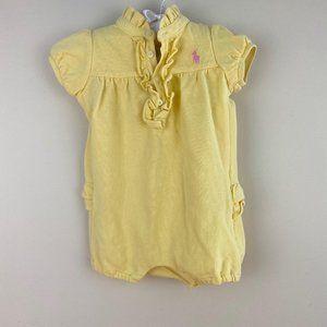 Ralph Lauren Baby Girl Yellow Ruffle Romper 9 M